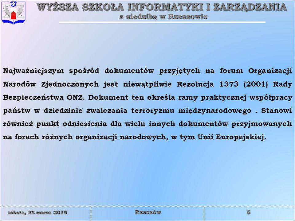 WYŻSZA SZKOŁA INFORMATYKI I ZARZĄDZANIA z siedzibą w Rzeszowie 37 sobota, 28 marca 2015sobota, 28 marca 2015sobota, 28 marca 2015sobota, 28 marca 2015 Rzeszów Dotychczasowe operacje wydają się zaledwie przygotowaniem do roli, jaką Komisja Europejska chce powierzyć Frontexowi w planowaniu i wdrażaniu Systemu Europejskiego Nadzoru Granic – Border Surveillance System (EUROSUR).