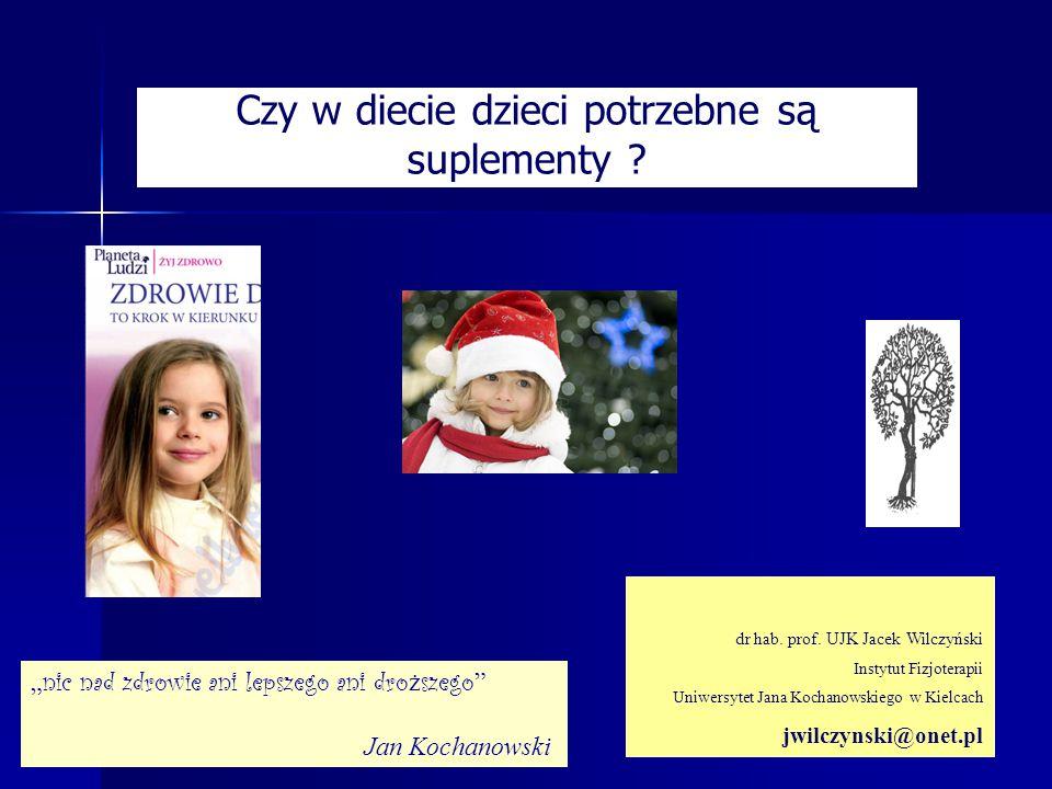 Czy w diecie dzieci potrzebne są suplementy ? dr hab. prof. UJK Jacek Wilczyński Instytut Fizjoterapii Uniwersytet Jana Kochanowskiego w Kielcach jwil