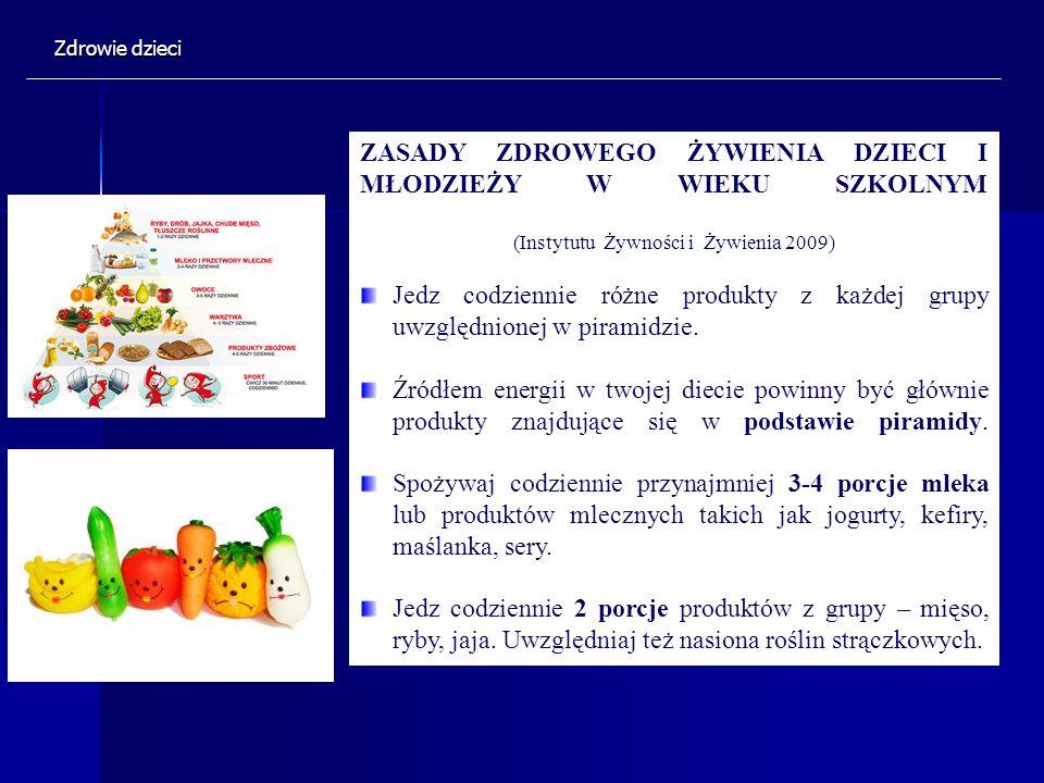 ZASADY ZDROWEGO ŻYWIENIA DZIECI I MŁODZIEŻY W WIEKU SZKOLNYM (Instytutu Żywności i Żywienia 2009) Jedz codziennie różne produkty z każdej grupy uwzglę
