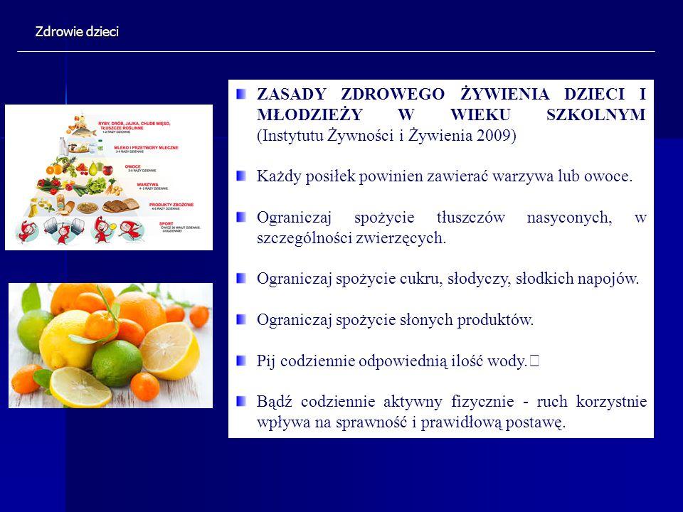 ZASADY ZDROWEGO ŻYWIENIA DZIECI I MŁODZIEŻY W WIEKU SZKOLNYM (Instytutu Żywności i Żywienia 2009) Każdy posiłek powinien zawierać warzywa lub owoce. O