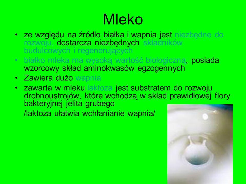 Mleko ze względu na źródło białka i wapnia jest niezbędne do rozwoju, dostarcza niezbędnych składników budulcowych i regenerujących białko mleka ma wy