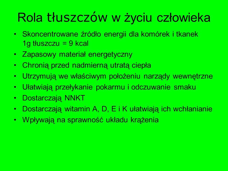 Rola tłuszczów w życiu człowieka Skoncentrowane źródło energii dla komórek i tkanek 1g tłuszczu = 9 kcal Zapasowy materiał energetyczny Chronią przed
