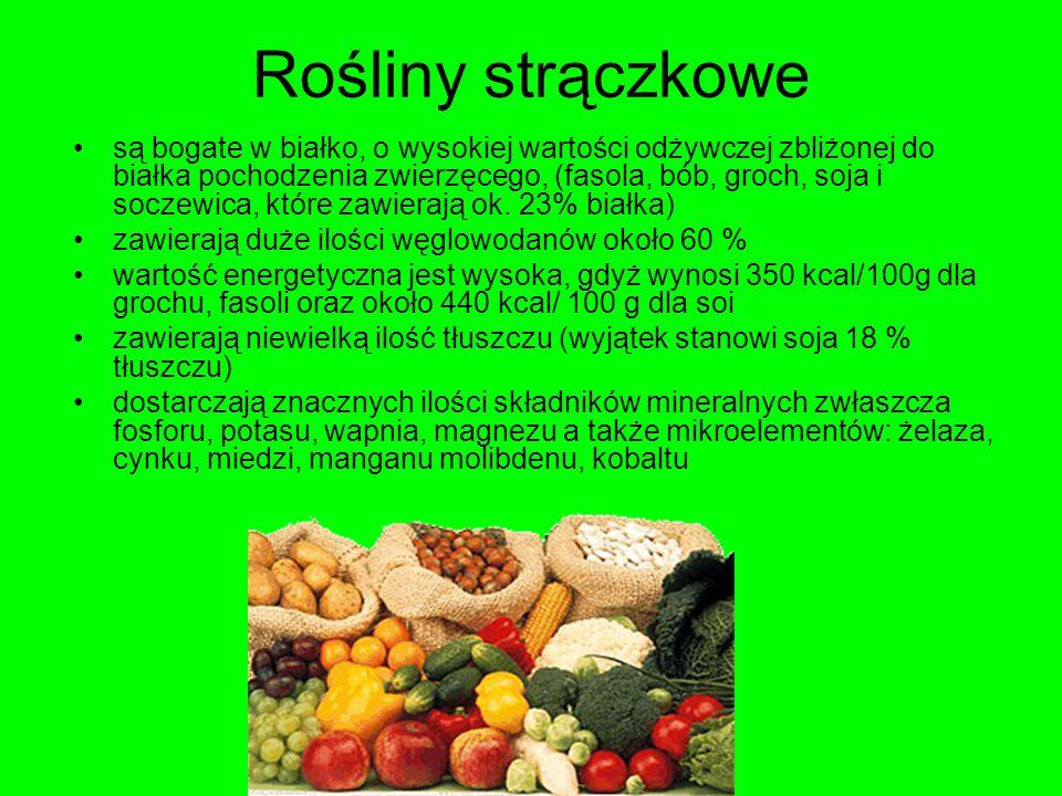 Rośliny strączkowe są bogate w białko, o wysokiej wartości odżywczej zbliżonej do białka pochodzenia zwierzęcego, (fasola, bób, groch, soja i soczewic