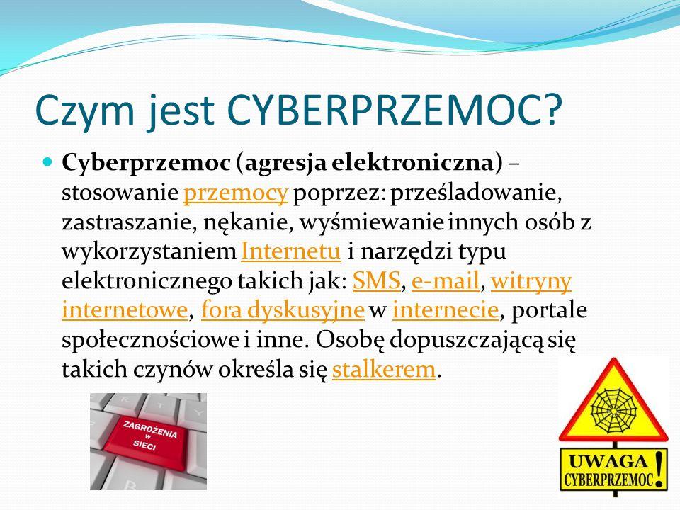 Czym jest CYBERPRZEMOC? Cyberprzemoc (agresja elektroniczna) – stosowanie przemocy poprzez: prześladowanie, zastraszanie, nękanie, wyśmiewanie innych