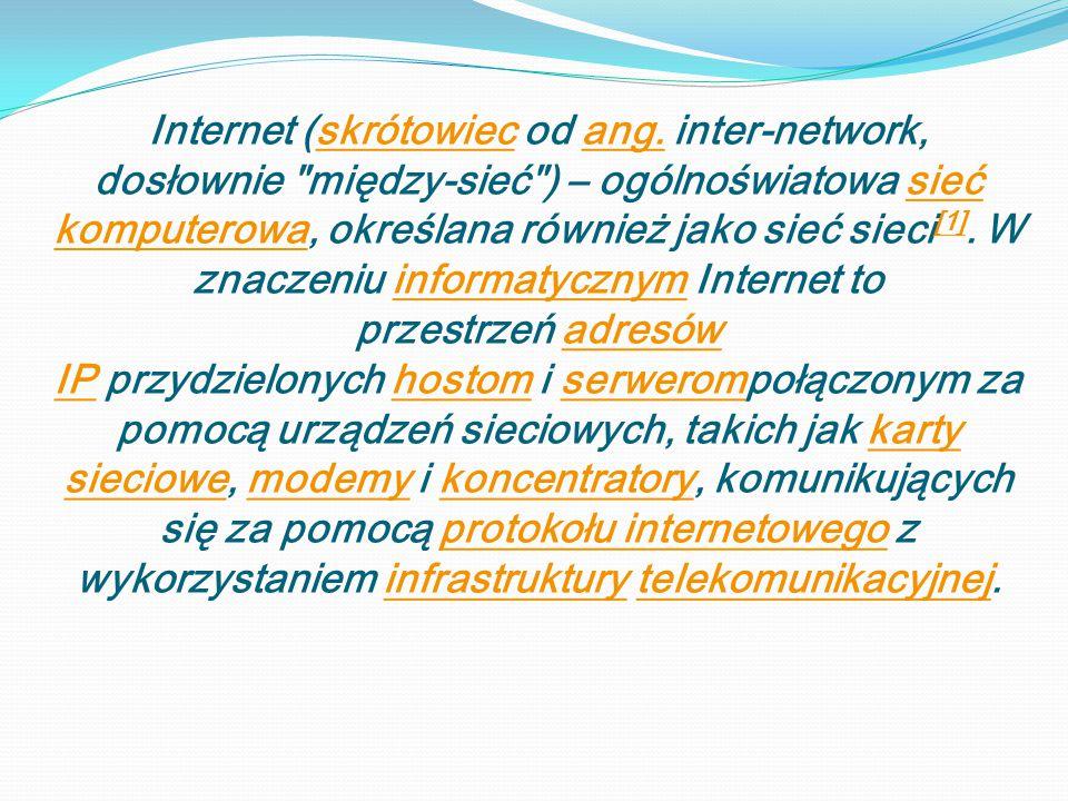 Internet (skrótowiec od ang. inter-network, dosłownie