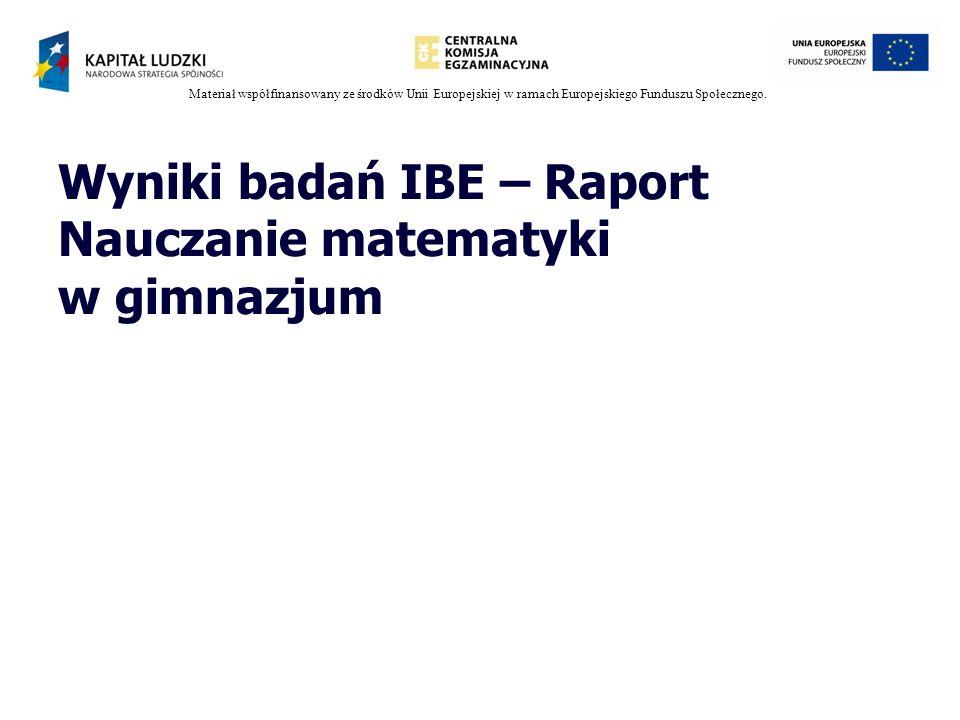 Materiał współfinansowany ze środków Unii Europejskiej w ramach Europejskiego Funduszu Społecznego. Wyniki badań IBE – Raport Nauczanie matematyki w g
