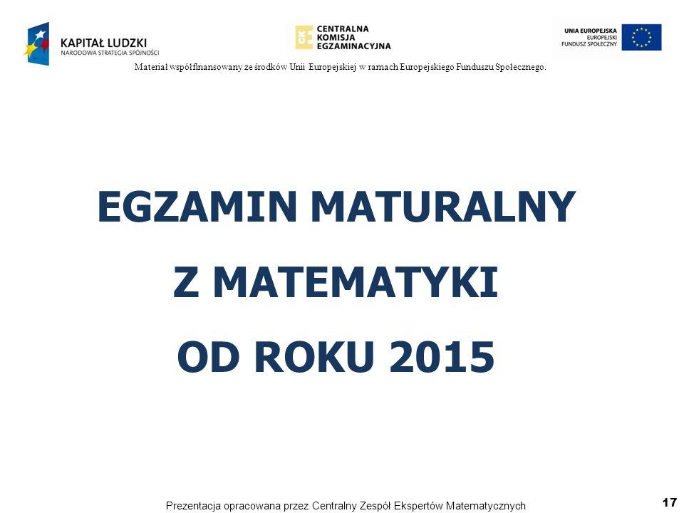 EGZAMIN MATURALNY Z MATEMATYKI OD ROKU 2015 17 Prezentacja opracowana przez Centralny Zespół Ekspertów Matematycznych