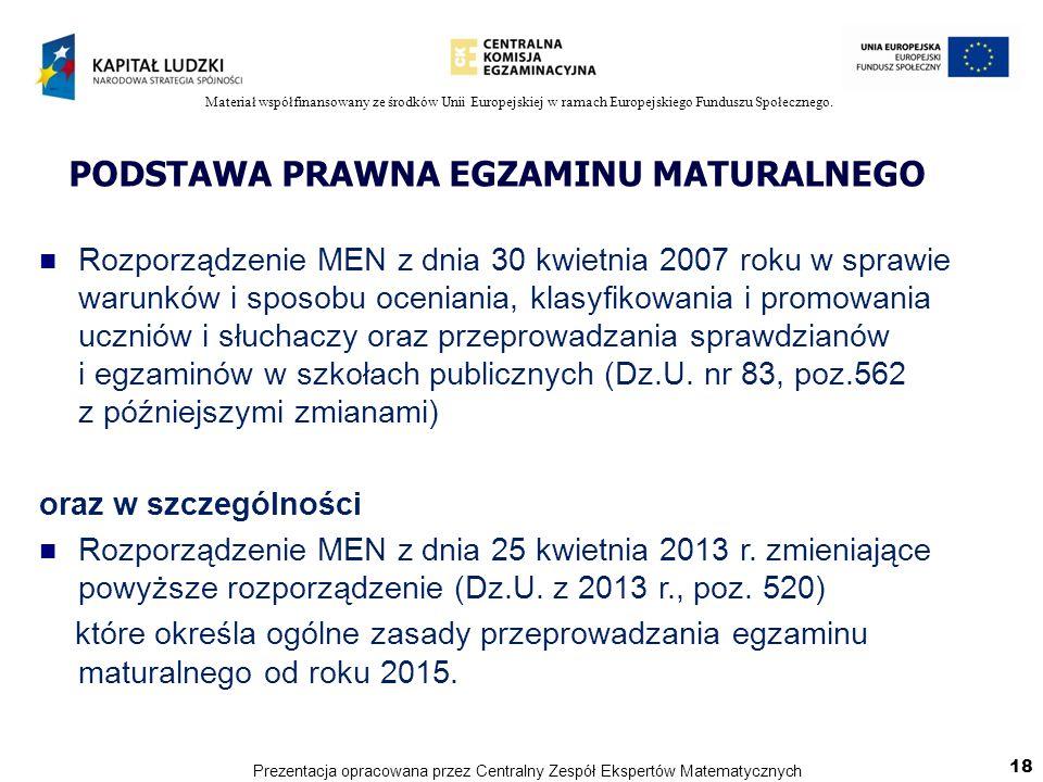 Materiał współfinansowany ze środków Unii Europejskiej w ramach Europejskiego Funduszu Społecznego. PODSTAWA PRAWNA EGZAMINU MATURALNEGO Rozporządzeni