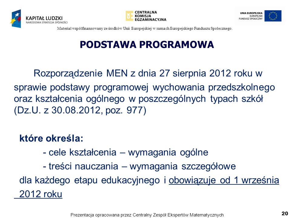 Materiał współfinansowany ze środków Unii Europejskiej w ramach Europejskiego Funduszu Społecznego. PODSTAWA PROGRAMOWA Rozporządzenie MEN z dnia 27 s