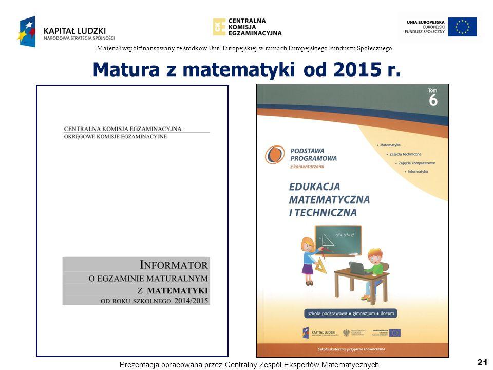 Materiał współfinansowany ze środków Unii Europejskiej w ramach Europejskiego Funduszu Społecznego. Matura z matematyki od 2015 r. 21 Prezentacja opra