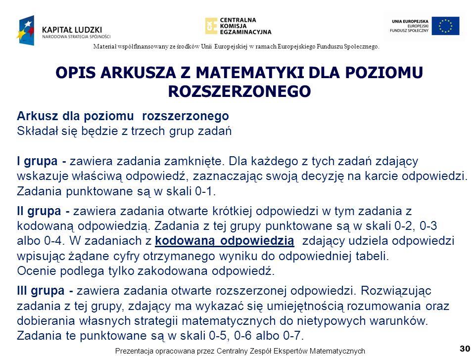 Materiał współfinansowany ze środków Unii Europejskiej w ramach Europejskiego Funduszu Społecznego. OPIS ARKUSZA Z MATEMATYKI DLA POZIOMU ROZSZERZONEG