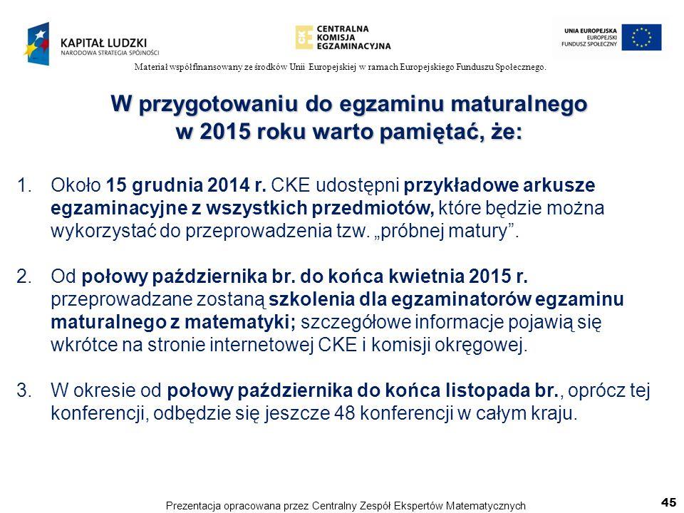 Materiał współfinansowany ze środków Unii Europejskiej w ramach Europejskiego Funduszu Społecznego. W przygotowaniu do egzaminu maturalnego w 2015 rok