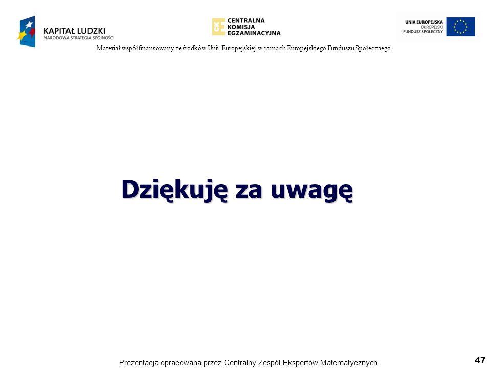 Materiał współfinansowany ze środków Unii Europejskiej w ramach Europejskiego Funduszu Społecznego. Dziękuję za uwagę 47 Prezentacja opracowana przez