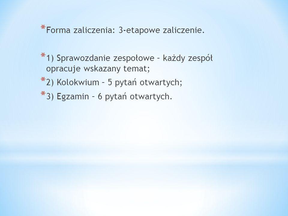 * Zaliczenie 1 – sprawozdanie zespołowe.* 3.