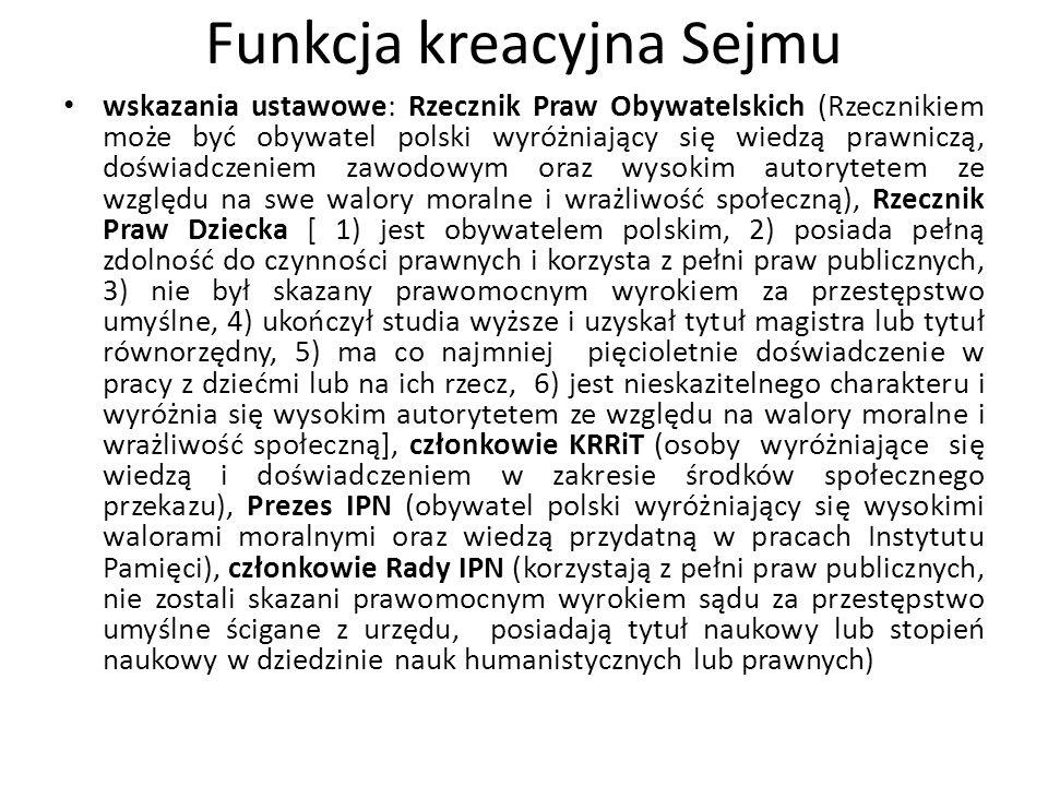 Funkcja kreacyjna Sejmu wskazania ustawowe: Rzecznik Praw Obywatelskich (Rzecznikiem może być obywatel polski wyróżniający się wiedzą prawniczą, doświ
