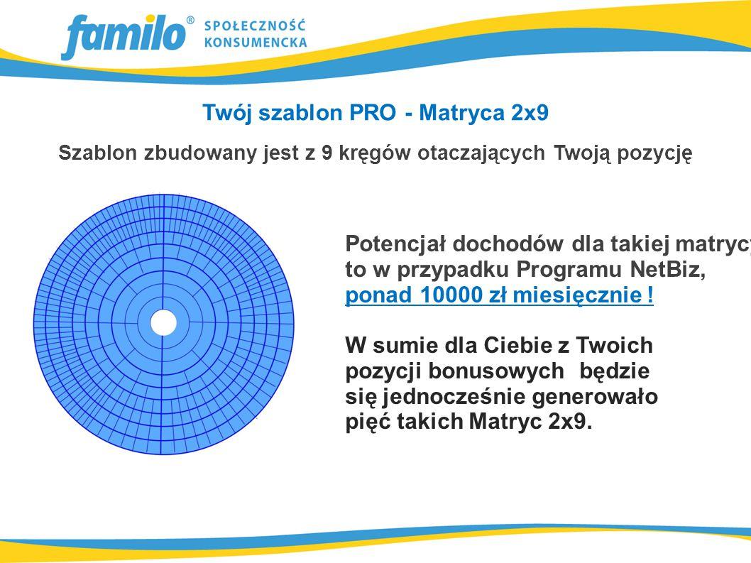 Twój szablon PRO - Matryca 2x9 Szablon zbudowany jest z 9 kręgów otaczających Twoją pozycję Potencjał dochodów dla takiej matrycy to w przypadku Programu NetBiz, ponad 10000 zł miesięcznie .