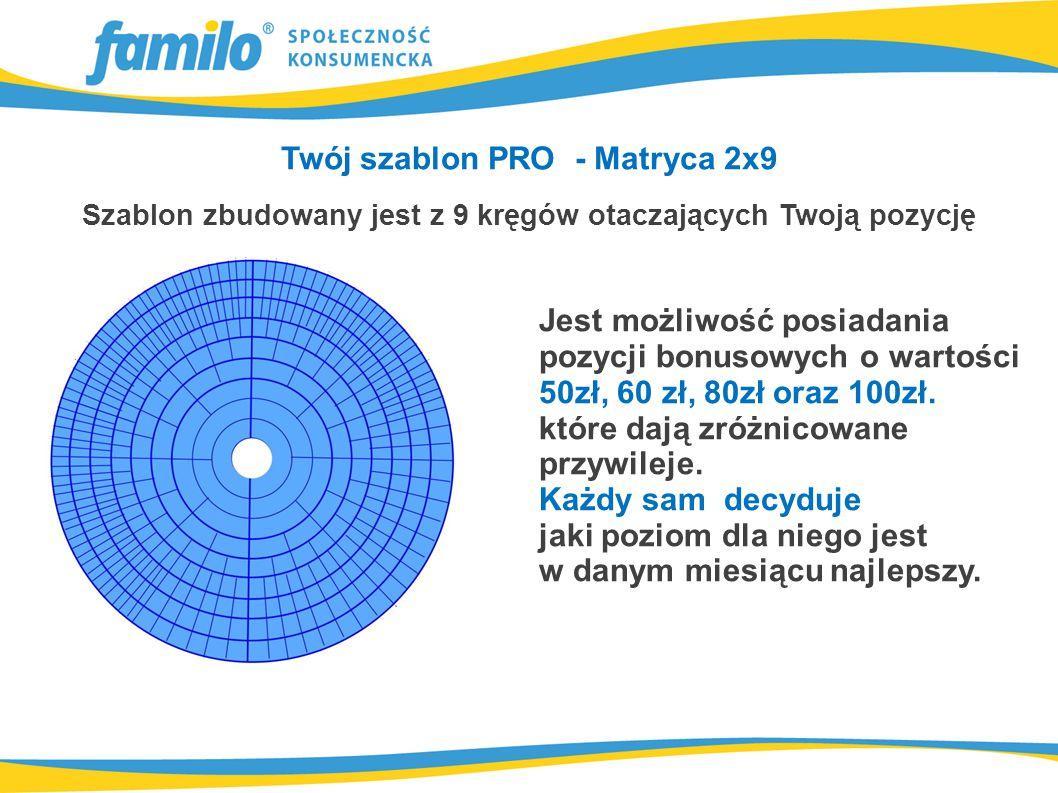 Twój szablon PRO - Matryca 2x9 Szablon zbudowany jest z 9 kręgów otaczających Twoją pozycję Jest możliwość posiadania pozycji bonusowych o wartości 50zł, 60 zł, 80zł oraz 100zł.