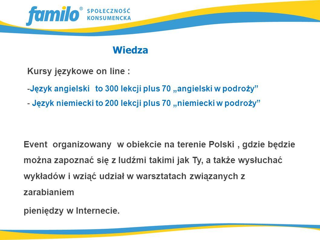 """Wiedza Kursy językowe on line : -Język angielski to 300 lekcji plus 70 """"angielski w podroży - Język niemiecki to 200 lekcji plus 70 """"niemiecki w podroży Event organizowany w obiekcie na terenie Polski, gdzie będzie można zapoznać się z ludźmi takimi jak Ty, a także wysłuchać wykładów i wziąć udział w warsztatach związanych z zarabianiem pieniędzy w Internecie."""