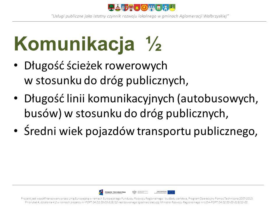 Usługi publiczne jako istotny czynnik rozwoju lokalnego w gminach Aglomeracji Wałbrzyskiej Komunikacja ½ Długość ścieżek rowerowych w stosunku do dróg publicznych, Długość linii komunikacyjnych (autobusowych, busów) w stosunku do dróg publicznych, Średni wiek pojazdów transportu publicznego, Projekt jest współfinansowany przez Unię Europejską w ramach Europejskiego Funduszu Rozwoju Regionalnego i budżetu państwa, Program Operacyjny Pomoc Techniczna 2007-2013 Priorytet 4, działanie 4.2 w ramach projektu nr POPT.04.02.00-00-318/12 realizowanego zgodnie z decyzją Ministra Rozwoju Regionalnego nr UDA-POPT.04.02.00-00-318/12-00.