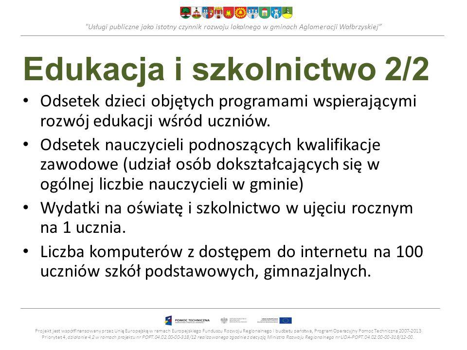 Usługi publiczne jako istotny czynnik rozwoju lokalnego w gminach Aglomeracji Wałbrzyskiej Edukacja i szkolnictwo 2/2 Odsetek dzieci objętych programami wspierającymi rozwój edukacji wśród uczniów.