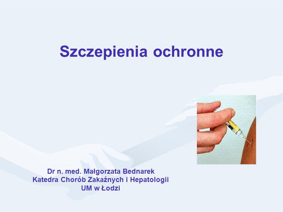 Szczepienia ochronne Dr n. med. Małgorzata Bednarek Katedra Chorób Zakaźnych i Hepatologii UM w Łodzi