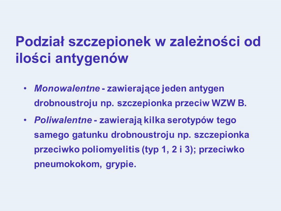 Podział szczepionek w zależności od ilości antygenów Monowalentne - zawierające jeden antygen drobnoustroju np. szczepionka przeciw WZW B. Poliwalentn