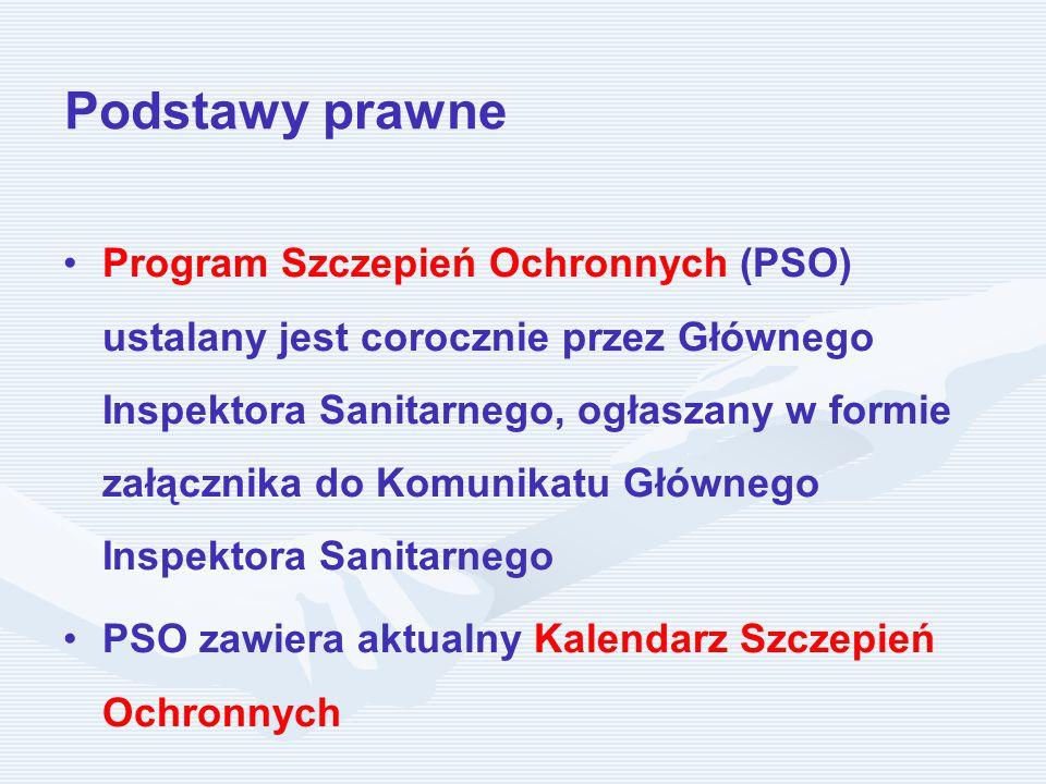 Podstawy prawne Program Szczepień Ochronnych (PSO) ustalany jest corocznie przez Głównego Inspektora Sanitarnego, ogłaszany w formie załącznika do Komunikatu Głównego Inspektora Sanitarnego PSO zawiera aktualny Kalendarz Szczepień Ochronnych