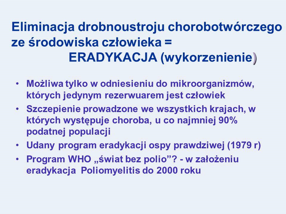 """) Eliminacja drobnoustroju chorobotwórczego ze środowiska człowieka = ERADYKACJA (wykorzenienie) Możliwa tylko w odniesieniu do mikroorganizmów, których jedynym rezerwuarem jest człowiek Szczepienie prowadzone we wszystkich krajach, w których występuje choroba, u co najmniej 90% podatnej populacji Udany program eradykacji ospy prawdziwej (1979 r) Program WHO """"świat bez polio ."""