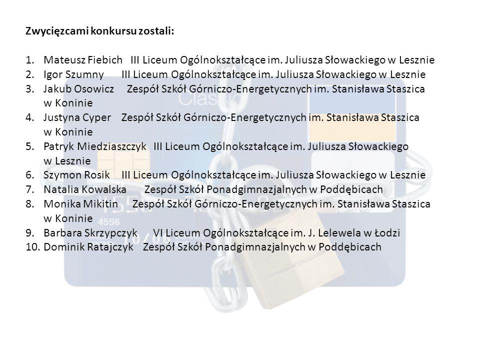 Zwycięzcami konkursu zostali: 1.Mateusz Fiebich III Liceum Ogólnokształcące im.