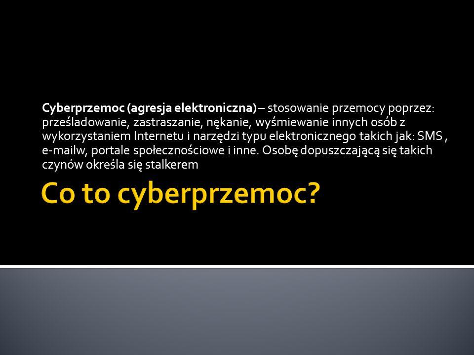 Cyberprzemoc (agresja elektroniczna) – stosowanie przemocy poprzez: prześladowanie, zastraszanie, nękanie, wyśmiewanie innych osób z wykorzystaniem Internetu i narzędzi typu elektronicznego takich jak: SMS, e-mailw, portale społecznościowe i inne.
