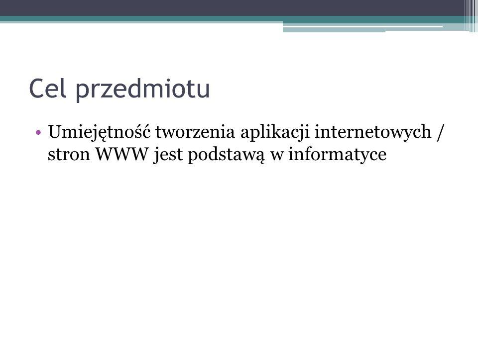 Cel przedmiotu Umiejętność tworzenia aplikacji internetowych / stron WWW jest podstawą w informatyce