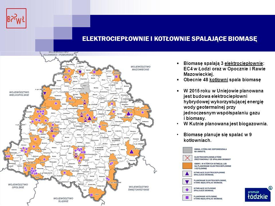 ELEKTROCIEPŁOWNIE I KOTŁOWNIE SPALAJĄCE BIOMASĘ  Biomasę spalają 3 elektrociepłownie: EC4 w Łodzi oraz w Opocznie i Rawie Mazowieckiej.