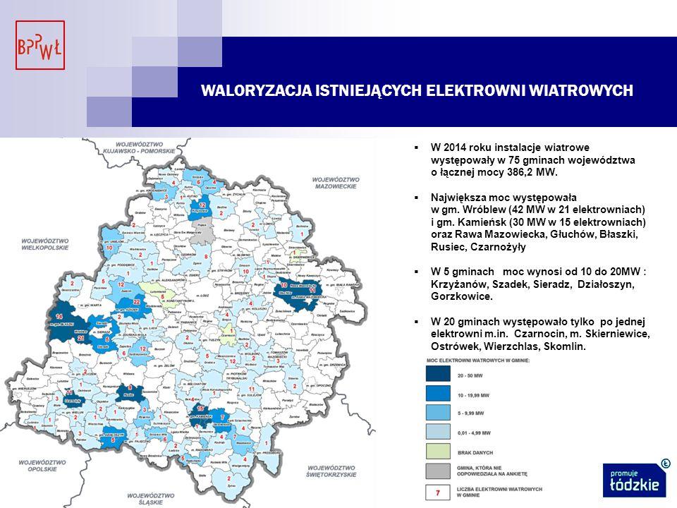 WALORYZACJA ISTNIEJĄCYCH ELEKTROWNI WIATROWYCH  W 2014 roku instalacje wiatrowe występowały w 75 gminach województwa o łącznej mocy 386,2 MW.