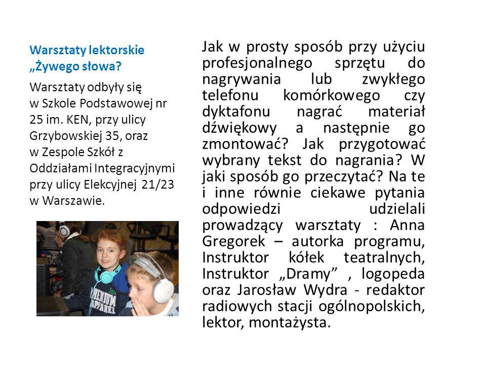"""Warsztaty lektorskie """"Żywego słowa."""