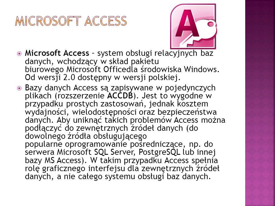  Microsoft Access – system obsługi relacyjnych baz danych, wchodzący w skład pakietu biurowego Microsoft Officedla środowiska Windows. Od wersji 2.0