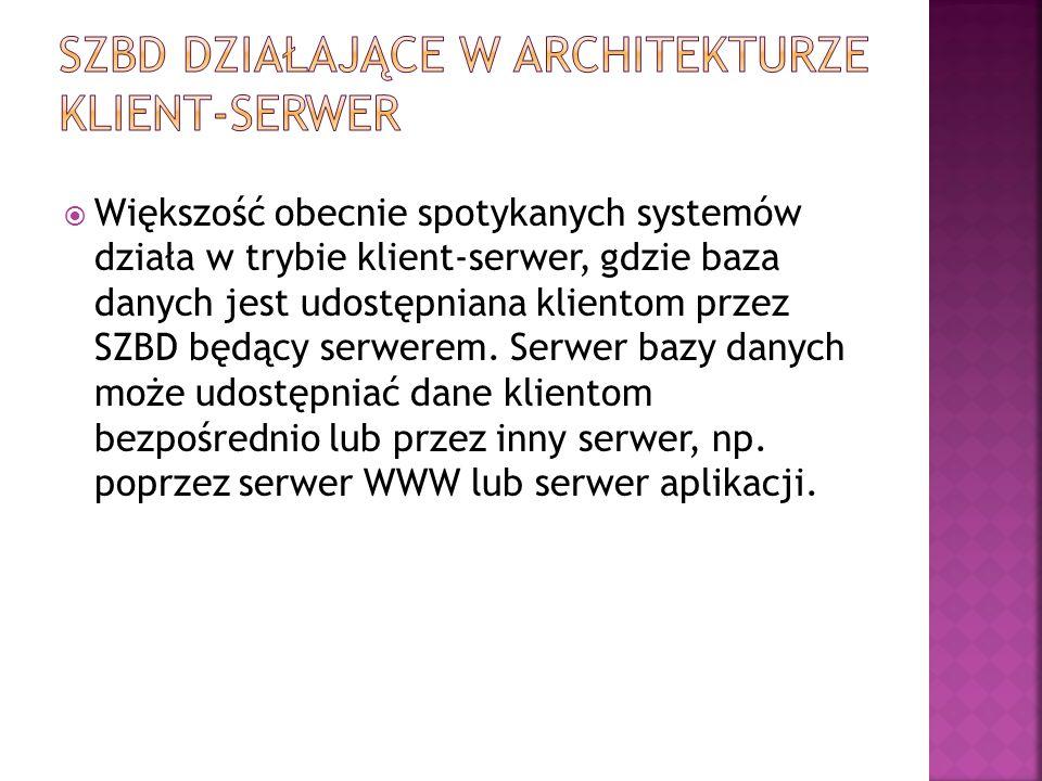 Większość obecnie spotykanych systemów działa w trybie klient-serwer, gdzie baza danych jest udostępniana klientom przez SZBD będący serwerem. Serwe