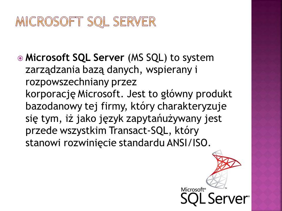  Microsoft SQL Server (MS SQL) to system zarządzania bazą danych, wspierany i rozpowszechniany przez korporację Microsoft. Jest to główny produkt baz