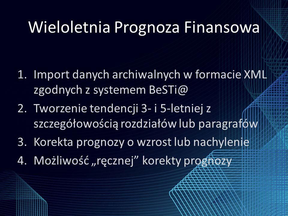 """Wieloletnia Prognoza Finansowa 1.Import danych archiwalnych w formacie XML zgodnych z systemem BeSTi@ 2.Tworzenie tendencji 3- i 5-letniej z szczegółowością rozdziałów lub paragrafów 3.Korekta prognozy o wzrost lub nachylenie 4.Możliwość """"ręcznej korekty prognozy"""