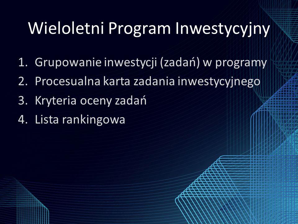 Wieloletni Program Inwestycyjny 1.Grupowanie inwestycji (zadań) w programy 2.Procesualna karta zadania inwestycyjnego 3.Kryteria oceny zadań 4.Lista rankingowa
