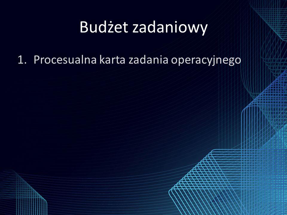 Budżet zadaniowy 1.Procesualna karta zadania operacyjnego