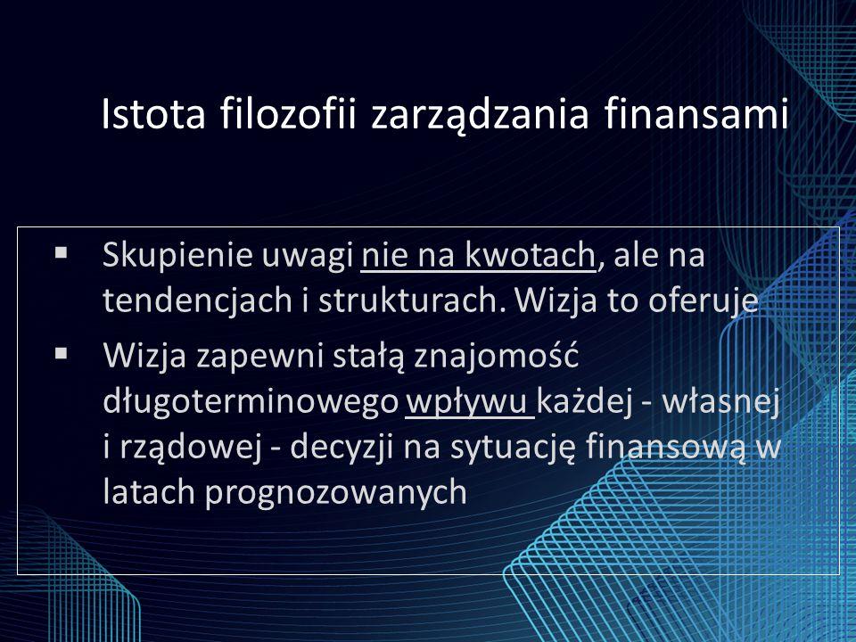 Istota filozofii zarządzania finansami  Skupienie uwagi nie na kwotach, ale na tendencjach i strukturach.