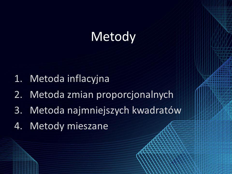 Metody 1.Metoda inflacyjna 2.Metoda zmian proporcjonalnych 3.Metoda najmniejszych kwadratów 4.Metody mieszane