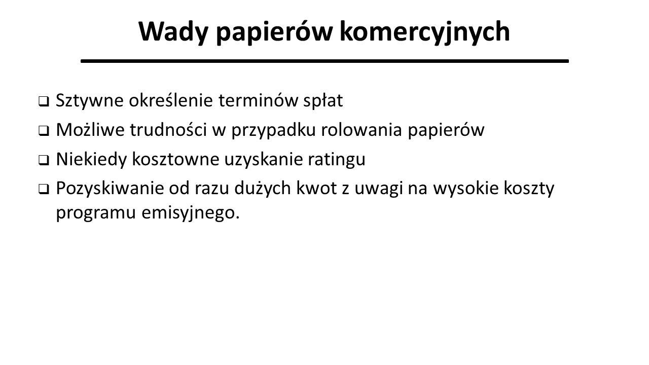 Wady papierów komercyjnych  Sztywne określenie terminów spłat  Możliwe trudności w przypadku rolowania papierów  Niekiedy kosztowne uzyskanie ratin