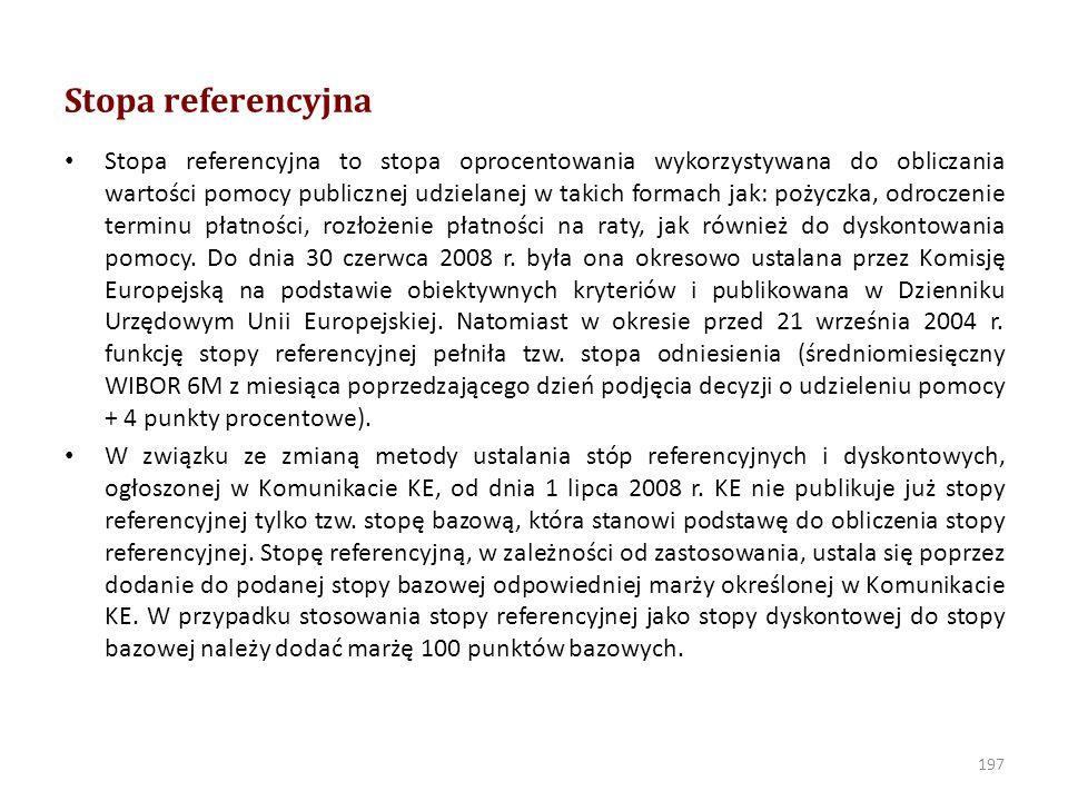 Stopa bazowadyskontowa okres obowiązywaniawartość 1.01.2014 -2,75 %3,75 % (2,75% + 1 p.p.) 1.07.2013 - 31.12.20133,18 %4,18 % (3,18% + 1 p.p.) 1.04.2013 - 30.06.20133,90 %4,90 % (3,90% + 1 p.p.) 1.01.2013 - 31.03.20134,80 %5,80 % (4,80% + 1 p.p.) 1.01.2012 - 31.12.20124,91 %5,91 % (4,91% + 1 p.p.) 1.01.2011 - 31.12.20114,26 %5,26% (4,26% + 1 p.p.) 1.01.2010 - 31.12.20104,49 %5,49 % (4,49% + 1 p.p.) 1.06.2009 - 31.12.20094,53 %5,53 % (4,53% + 1 p.p.) 1.04.2009 - 31.05.20095,62 %6,62 % (5,62% + 1 p.p.) 1.01.2009 - 31.03.20096,78 %7,78 % (6,78 % + 1 p.p.) 1.07.2008 - 31.12.20086,42 %7,42 % (6,42 % + 1 p.p.) 198