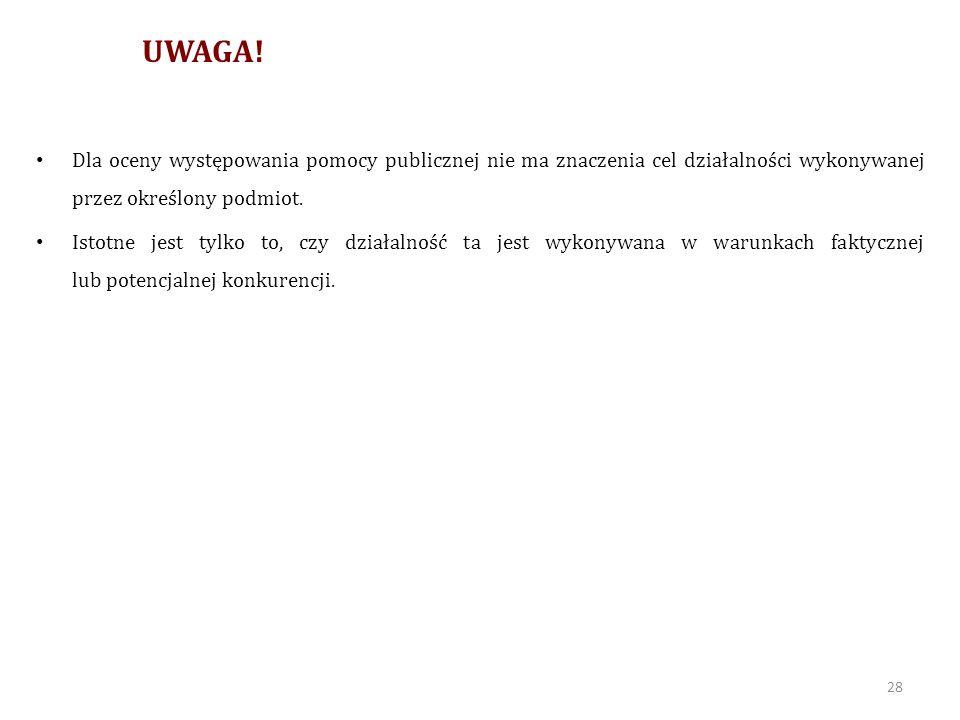 MONOPOL Pomoc publiczna nie dotyczy tych dziedzin działalności, które nie są wykonywane w warunkach konkurencyjnych, nawet jeśli jest to działalność zarobkowa (działalność gospodarcza w rozumieniu prawa polskiego).