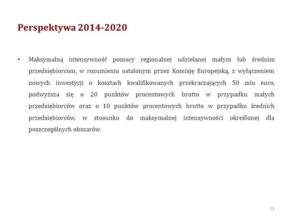 Perspektywa 2014-2020 Nie jest dozwolone w zakresie określonym przez Komisję Europejską udzielanie pomocy regionalnej: 1) przedsiębiorcom zagrożonym w rozumieniu właściwych przepisów unijnych dotyczących pomocy państwa na ratowanie i restrukturyzację zagrożonych przedsiębiorstw; 2) w sektorze hutnictwa żelaza i stali; 3) w sektorze włókien syntetycznych; 4) w sektorze rybołówstwa i akwakultury; 5) w sektorze rolnictwa rozumianym jako produkcja pierwotna, przetwórstwo i wprowadzanie do obrotu produktów rolnych, o których mowa w Załączniku I do Traktatu o funkcjonowaniu Unii Europejskiej; 6) w sektorze leśnictwa; 7) w sektorze transportu; 8) w sektorze energetyki; 9) portom lotniczym.