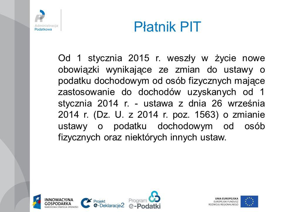 Płatnik PIT Od 1 stycznia 2015 r.