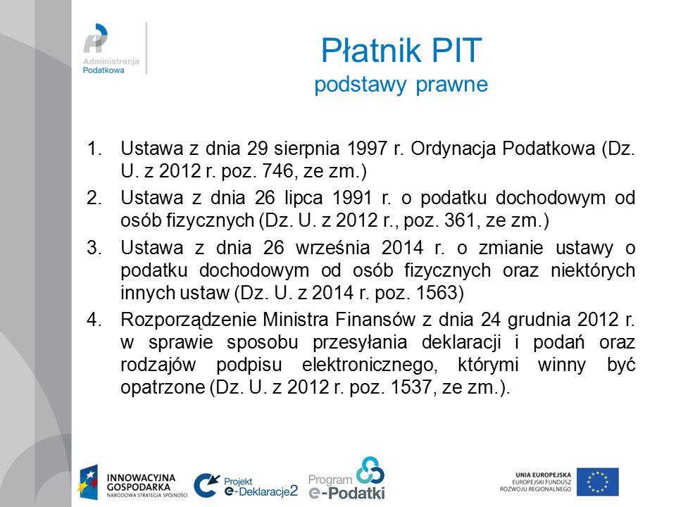 Płatnik PIT podstawy prawne 1.Ustawa z dnia 29 sierpnia 1997 r.