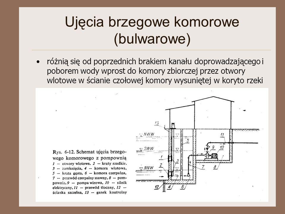 Ujęcia brzegowe komorowe (bulwarowe) różnią się od poprzednich brakiem kanału doprowadzającego i poborem wody wprost do komory zbiorczej przez otwory