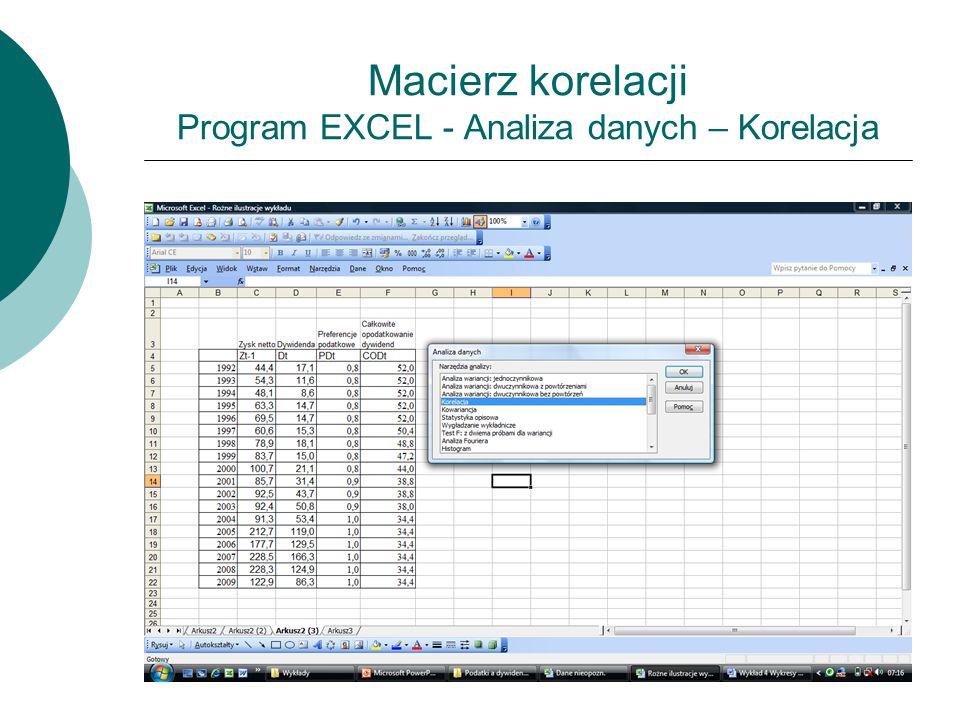 Macierz korelacji Program EXCEL - Analiza danych – Korelacja